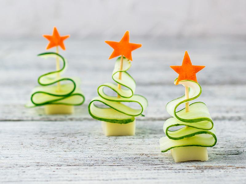Kerstboom borrelhapje komkommer